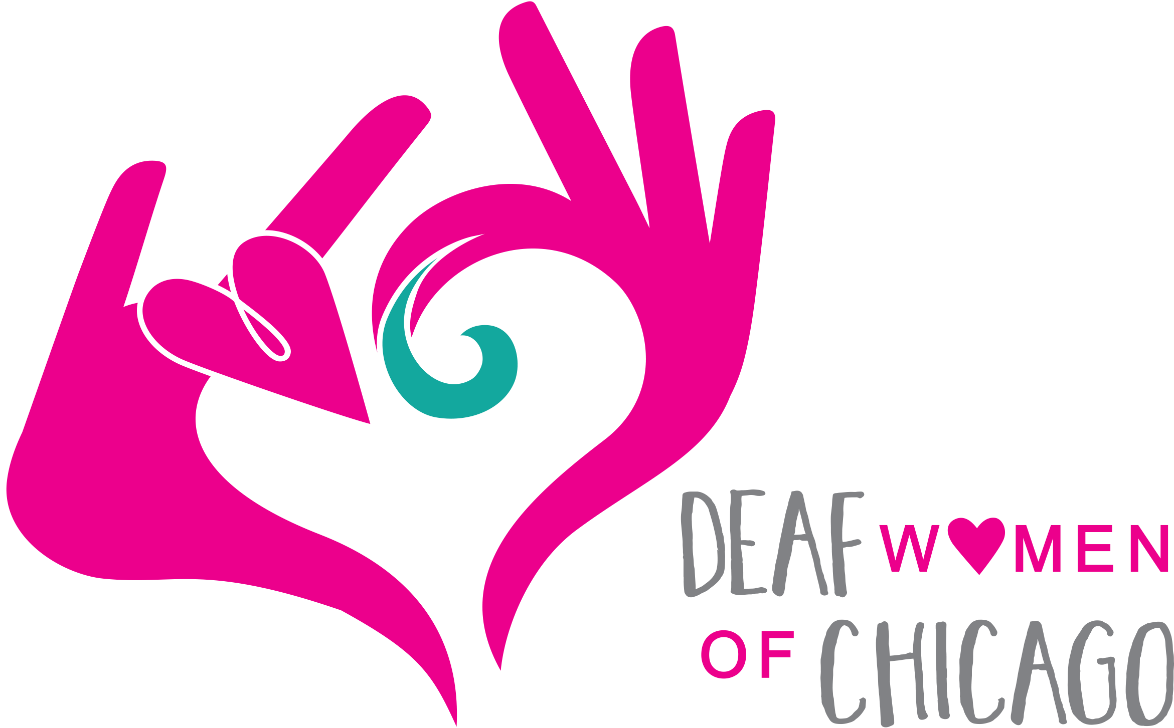 """Pink abstract handshapes one shaped in ILY and the other with index finger down and other three fingers out, both hands together make a heart-like shape. Text: Deaf Women of Chicago"""""""