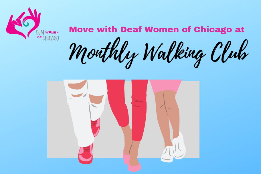 Monthly Walking Club by DWC, abstract image of legs with slacks/capris and shoes.